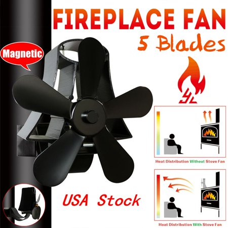 5 Blades Fireplace Heat Stove Fan Wall Mounted Black Heater Self-Powered Wood Burning Top Log Burner Silent Eco Friendly Fuel Saving Low Maintenance Disperses Warm Air