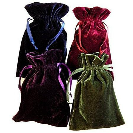 Tarot Rune Bag Bundle of 4 - One of Each Color : Moss Green, Navy Blue, Purple, Wine 4