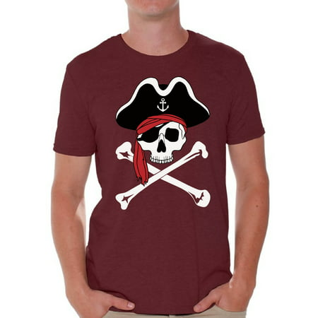 Awkward Styles Jolly Roger Skull Tshirt for Men Jolly Roger Skull Flag Gifts for Him Dia de los Muertos Shirts Men's Pirate Skull Shirt Day of the Dead Outfit Pirate Skull Flag Shirt for Men (Pirate Outfit Ideas)