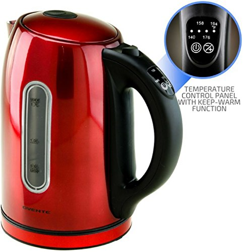 Ovente 1.7L BPA-Free Stainless Steel Electric Kettle, Cordless with Temperature Control and Keep Warm Function, Auto Shut-Off and Boil-Dry Protection, Red, NO BEEP (KS89R