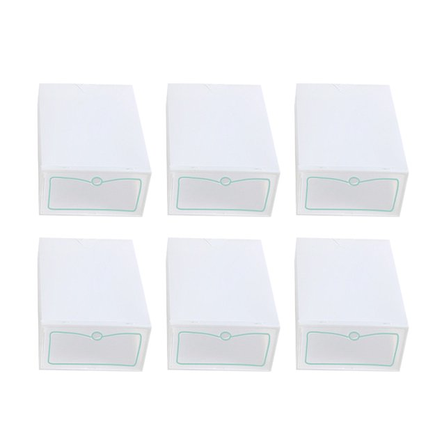 6pcs Thicken Shoes Box Transparent Stackable Shoes Storage Box Plastic Shoe Container - S (White)