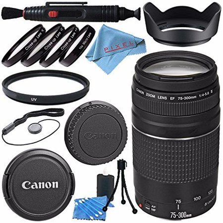 Canon EF 75-300mm f/4-5.6 III Lens 6473A003 + 58mm Macro Close Up Kit + 58mm UV Filter + Lens Cleaning Kit + Lens Pen Cleaner + 58mm Tulip Lens Hood + Fibercloth