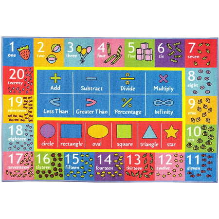 KC CUBS Playtime Collection Math Symbols, Numbers and Shapes Educational Learning Area Rug Carpet For Kids and Children Bedroom and Playroom (3' 3