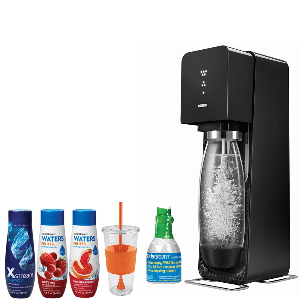 SodaStream Source Home Soda Maker Starter Kit, Black with 24 Ounce Togo Cup, Waters Zeros with Pink Grapefruit and Berry Mix zero calorie and Xstream  Energy Drink