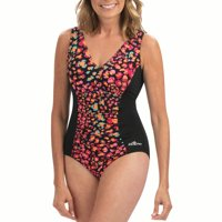 Dolfin Aquashape Women's Print V-neck Front Panel 1-Piece in Multiple Colors and Sizes