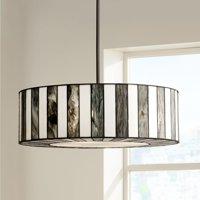 "Robert Louis Tiffany Tiffany Style 20"" Wide Striped Art Glass Pendant Light"