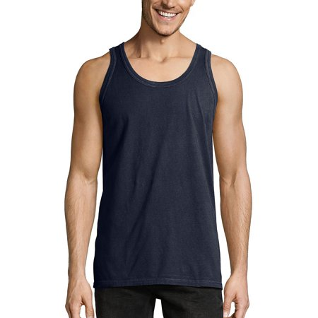 Hanes Mens ComfortWash Garment Dyed Sleeveless Tank Top, L, Navy