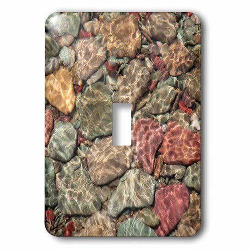 3dRose USA, Montana, Glacier NP. Multi-colored stones on St Mary Lake., Single Toggle Switch