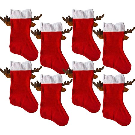 Christmas Red Stocking With Reindeer Antlers (8 Pack) ()