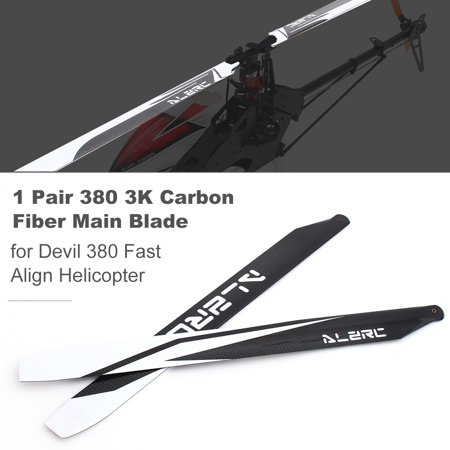 1 Pair ALZRC Devil 380 RC Helicopter Main Blade 3K Carbon Fiber Blade for Devil 380 Fast Helicopter 3k Carbon Fiber Tail Blade
