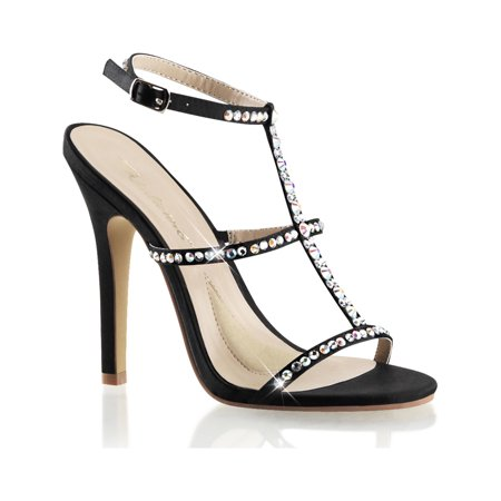 Womens Black Satin Dress Shoes with 4.5 Inch High Heels and Rhinestone T-Strap (3 Inch Rhinestone Heels)