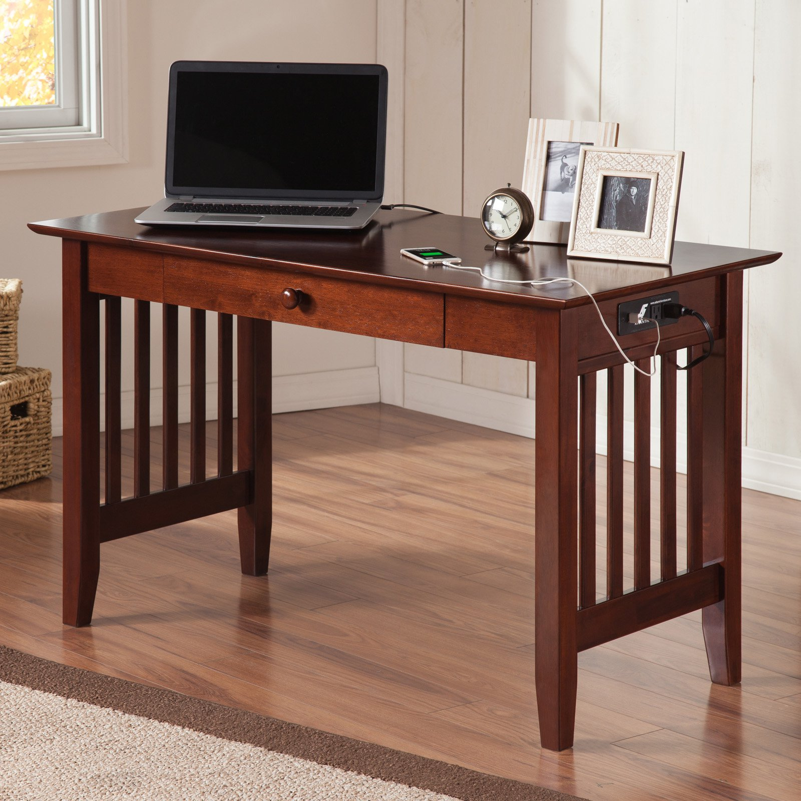 Beau Atlantic Furniture Ralston Desk With Drawer And Charging Station    Walmart.com