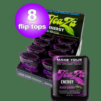 Energy Cherry - Teaza Black Cherry Herbal Energy Pouch Flip Top 8 Pack