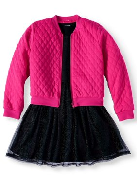 Wonder Nation Quilted Bomber Jacket and Silver Shimmer Tulle Tutu Dress, 2-Piece Set (Little Girls, Big Girls & Plus)