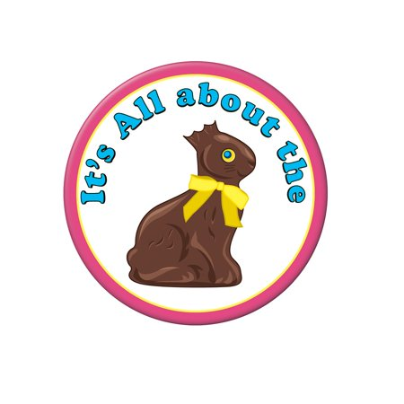 Club Pack of 12 Chocolate Easter Bunny Button 3.5