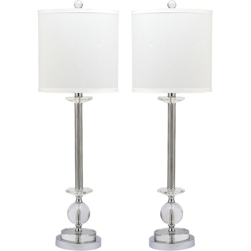 Safavieh Marla Crystal Candlestick Lamp with CFL Bulb, Clear with Off-White Shade, Set of 2