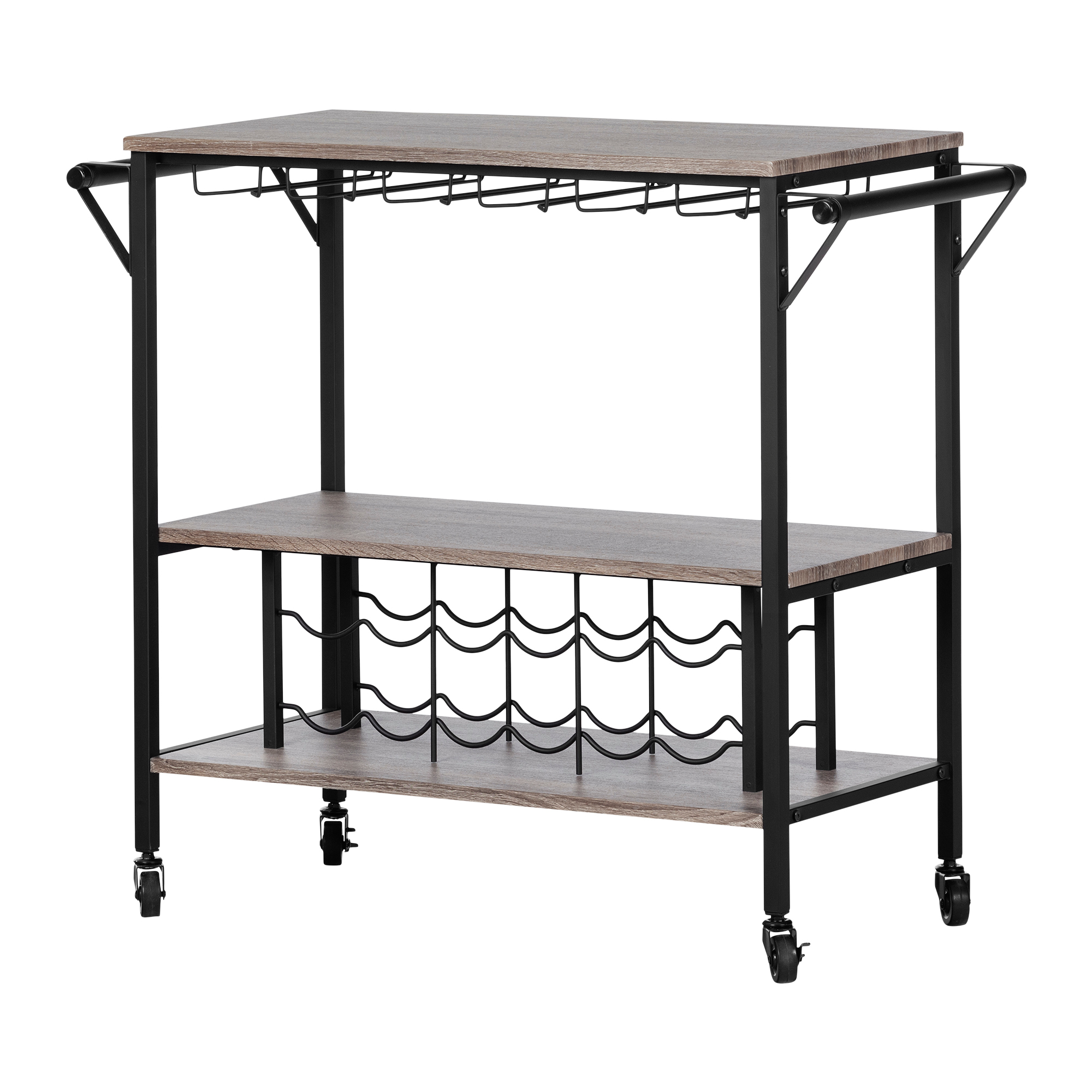South Shore Munich Bar Cart with Wine Rack, Multiple Finishes