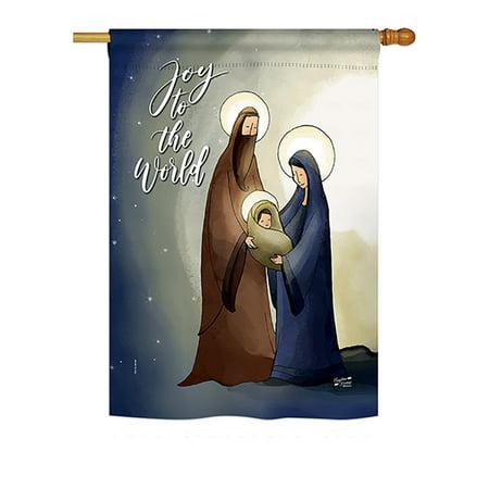 Angeleno Heritage H137132-BO Joy To The World Winter Nativity Impressions Decorative Vertical 28