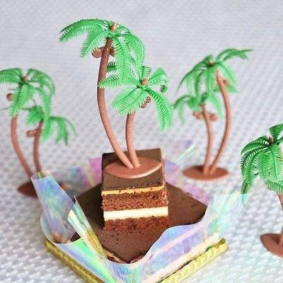 Palm Trees with Coconuts Cake Topper 3 Inches Tall Beach Tropical Luau Party Décor Set of 8](Beach Cake Topper)