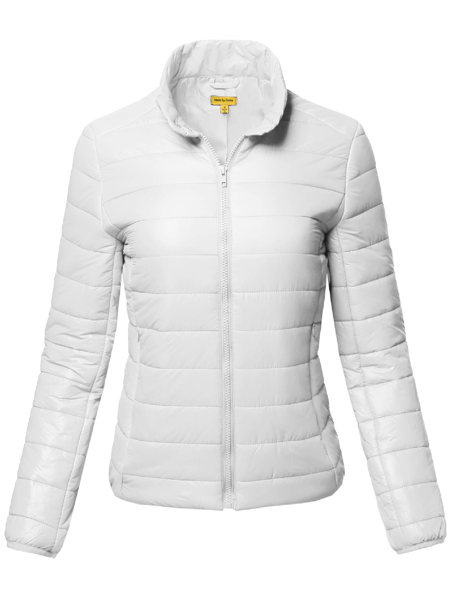 FashionOutfit Women/'s Solid Basic Long Sleeves Quilted Lightly Padded Jacket