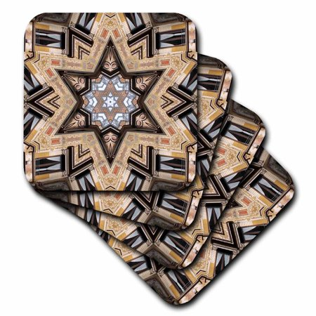 Architectural Star - 3dRose Architectural Star of David - Judaism star of David architecture design - Ceramic Tile Coasters, set of 4