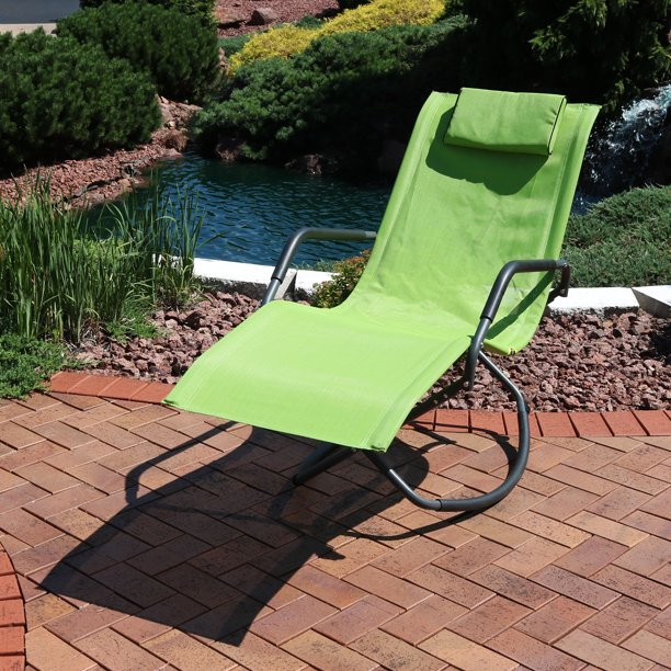 Tommy Bahama Outdoor Cushions, Sunnydaze Rocking Chaise Lounge Chair With Headrest Pillow Outdoor Folding Patio Lounger Green Walmart Com Walmart Com