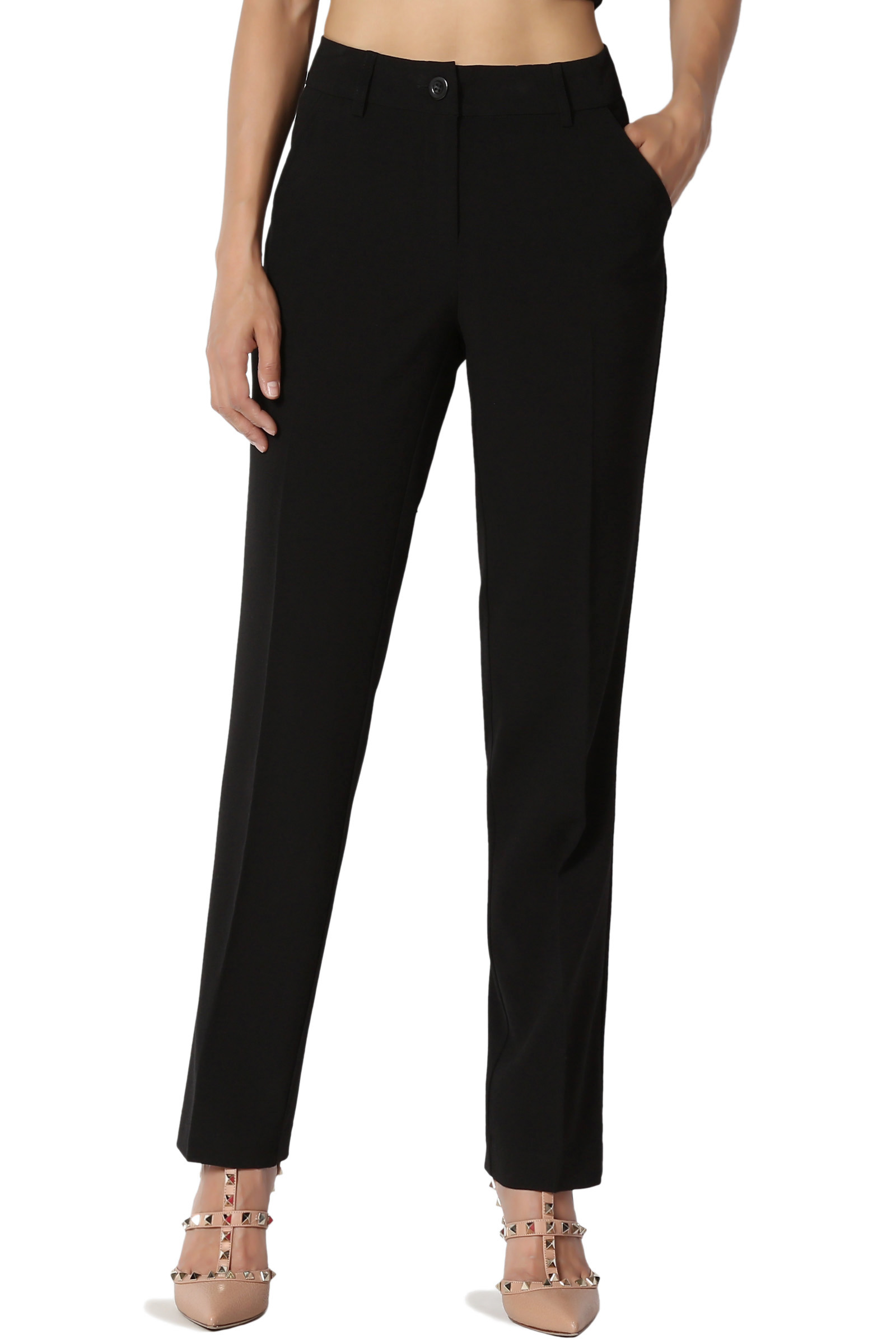 TheMogan Women's S~3X Straight Crop Leg Mid Rise Trousers Work Business Casual Pants