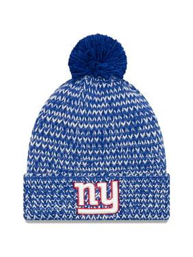 New York Giants New Era Women's Frosty Cuff Pom Knit Hat - Royal - OSFA