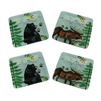 Set of 4 Lodge Black Bear and Moose Square Art Glass Salad Plates