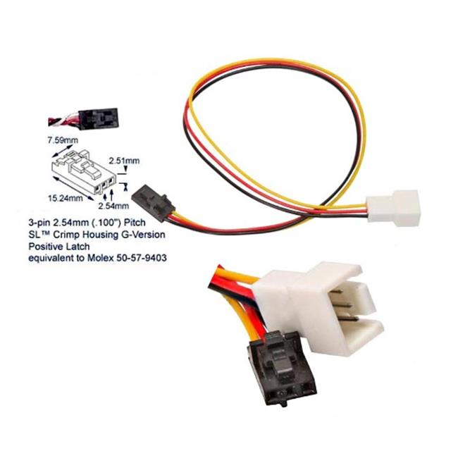 Works 22-100-26 Fan 3-Pin To Dell Proprietary 3-Pin Cable Adapter, 7 in. Long