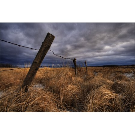 Barbed Wire Fence Posts With Dark Sky In Background Alberta Canvas Art - Dan Jurak  Design Pics (34 x 22)