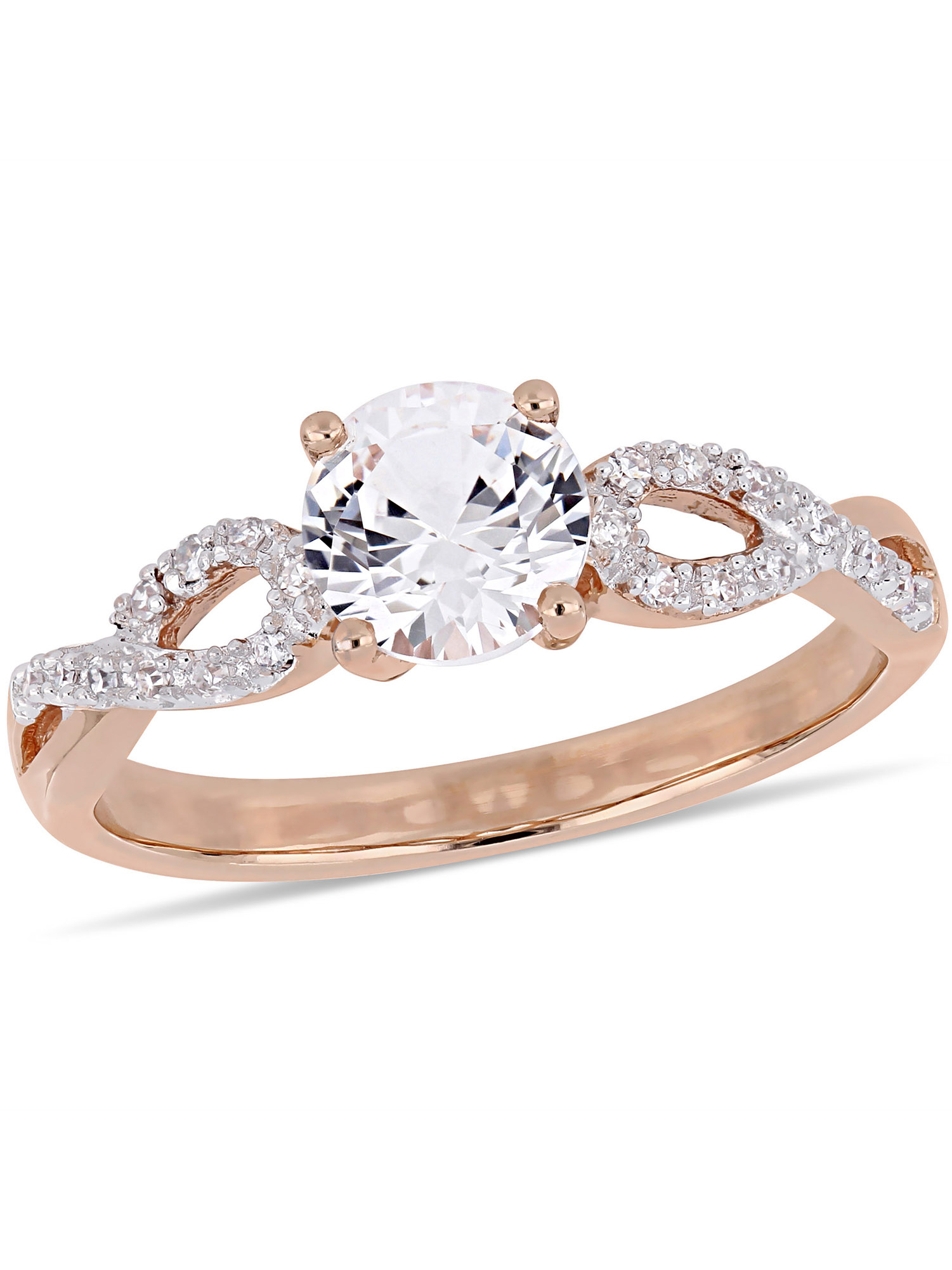 Miabella 1 Carat T.G.W. Created White Sapphire and 1 10 Carat T.W Diamond 10kt Rose Gold Infinity Engagement Ring by Delmar