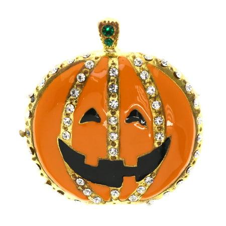 Mi Amore Halloween Jack O Lantern Happy  Brooch-Pin Orange & Gold-Tone - Halloween Holland Mi