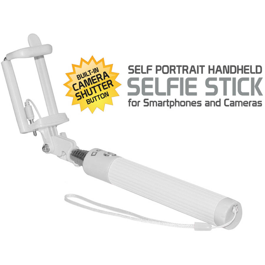 Self-Portrait Handheld Selfie Stick for Smartphones and Cameras, White