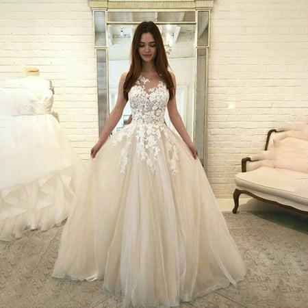 iLH Women Fashion Floral Lace Wedding Elegant Chiffon Evening Party Dress Ball Gown 70 Fashion Women