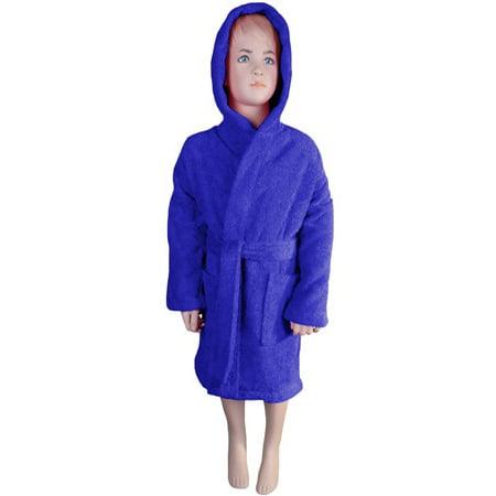 Kids Bathrobe Robe Unisex for Girls Boys Hooded by Puffy Cotton - Navy Blue