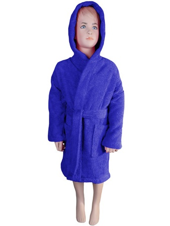 Kids Bathrobe Robe Unisex for Girls Boys Hooded by Puffy Cotton - Navy Blue