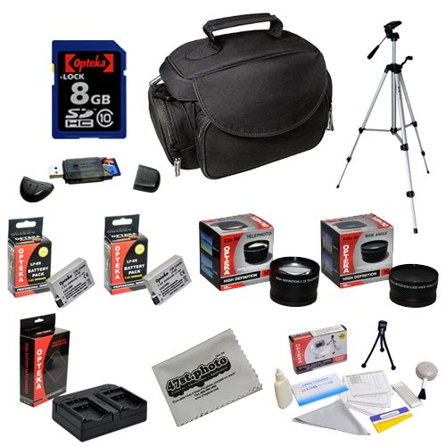 Opteka Kit with 8GB SDHC Memory Card, Deluxe Bag, Tripod, LP-E8 Batteries, .43x and 2.2x Lenses and More for Canon Rebel T5 SL1 T2i, T3i, T4I, T5i Digital SLR Cameras
