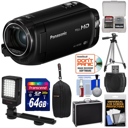 Panasonic HC-W580 Twin Wi-Fi HD Video Camera Camcorder with 64GB Card + Hard Case + Tripod + LED Light + Reader + Kit