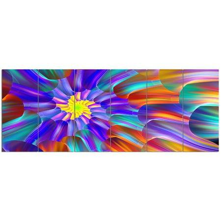 Design Art 'Spectacular Stain Glass with Spirals'  6 Piece Graphic Art Print Set on Canvas Design Orange Fused Glass