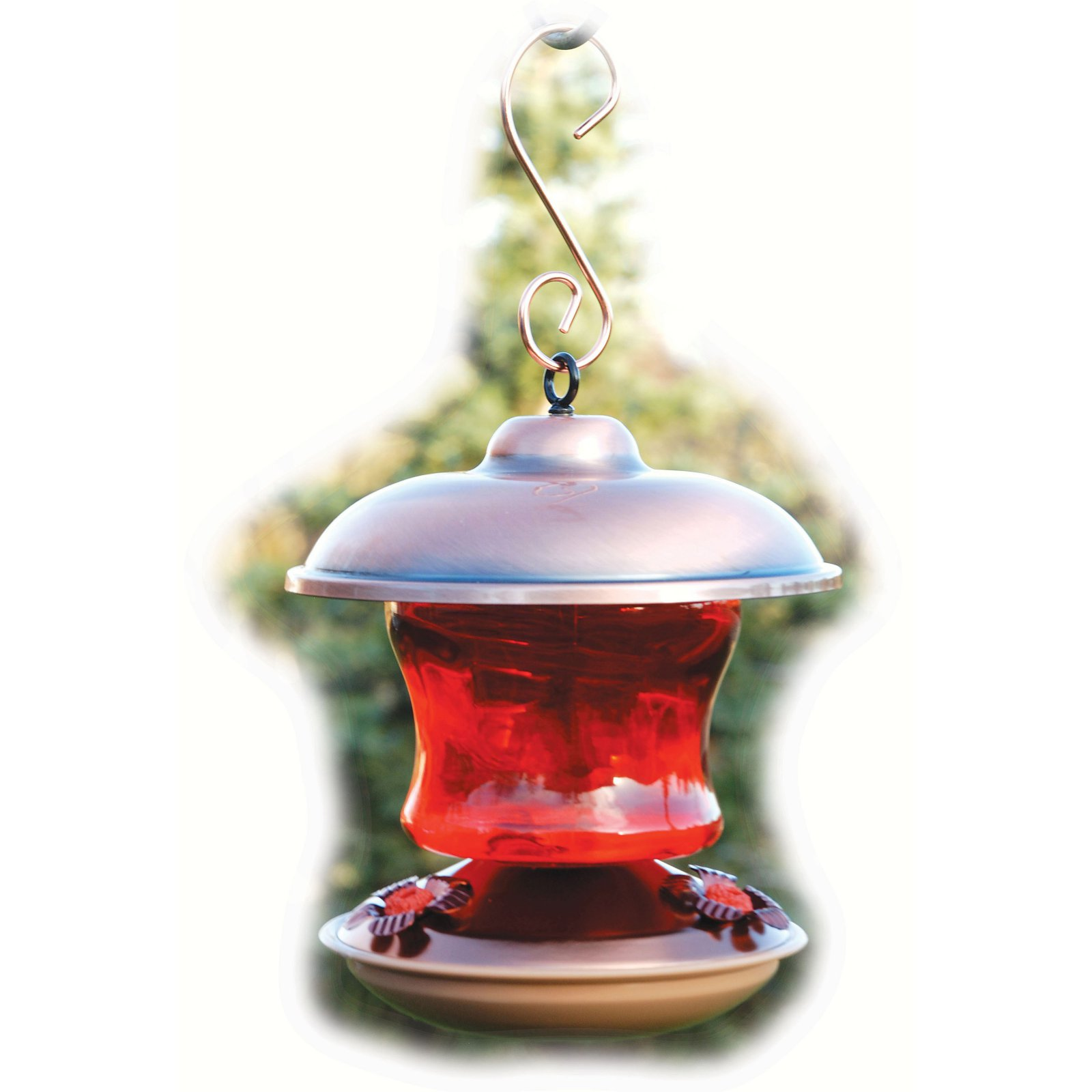 Ruby Colored Glass Hummingbird Feeder