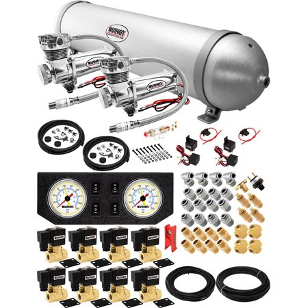 Vixen Air Suspension Kit for Truck/Car Bag/Air Ride/Spring. On Board System- Dual 200psi Compressor, 5 Gallon Aluminum Tank. For Boat Lift,Towing,Lowering,Load Leveling,Train Horn (Air Bag Suspension Lift Kits For Trucks)