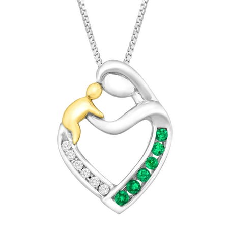 1/6 ct Created Emerald Mother & Child Pendant Necklace with Diamonds in Sterling Silver & 14kt Gold Created Emerald Pendant Necklace