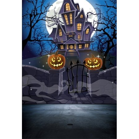HelloDecor Polyster 5x7ft Backdrop Photography Background Happy Halloween Cozy Haunted House Stone Wall Gate Moon Night Pumpkin Latern Spooky Castle Trees Scenery Children Kids Photo Background - Cute Happy Halloween Background