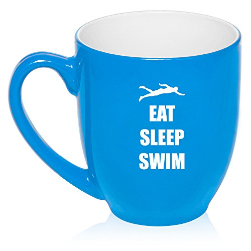 16 oz Large Bistro Mug Ceramic Coffee Tea Glass Cup Eat Sleep Swim (Light Blue)