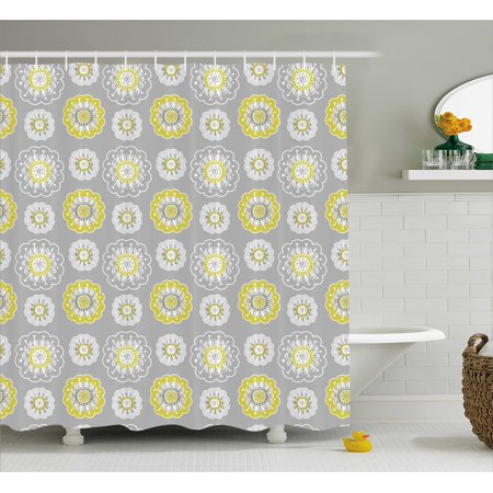 Grey And Yellow Shower Curtain Light Backdrop With Indian Inspired Flowers Ivy Image