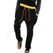 Men's Double Drawstring Elastic Waist Contrast Color Pockets Pants