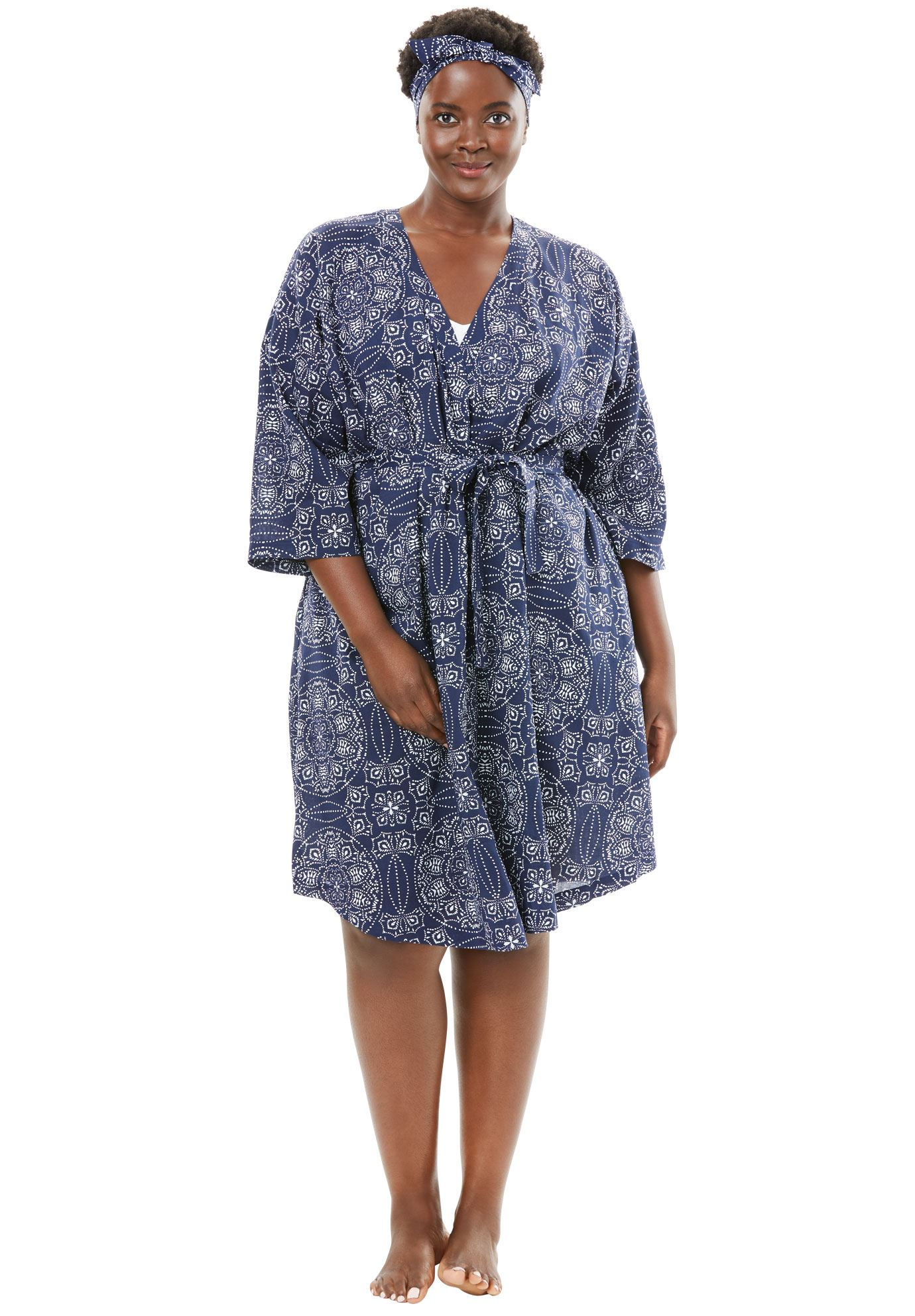 Dreams & Co. Plus Size Kimono Robe & Headband Set