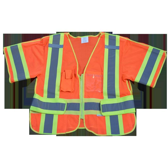 4 in. Safety Vest Orange Mesh with Lime Contrast Binding & Trim Ansi-Isea Class 3, 207-2006 - 5-Point Breakaway Adjustable Side Bands, Regular Fits Small & Extra Large