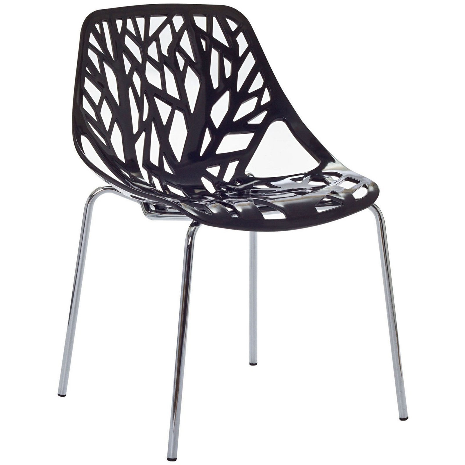 Modern Contemporary Kitchen Dining Side Chair Black (Outdoor and Indoor)